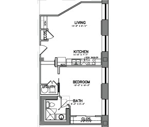 747 sq. ft. Unit 9W floor plan