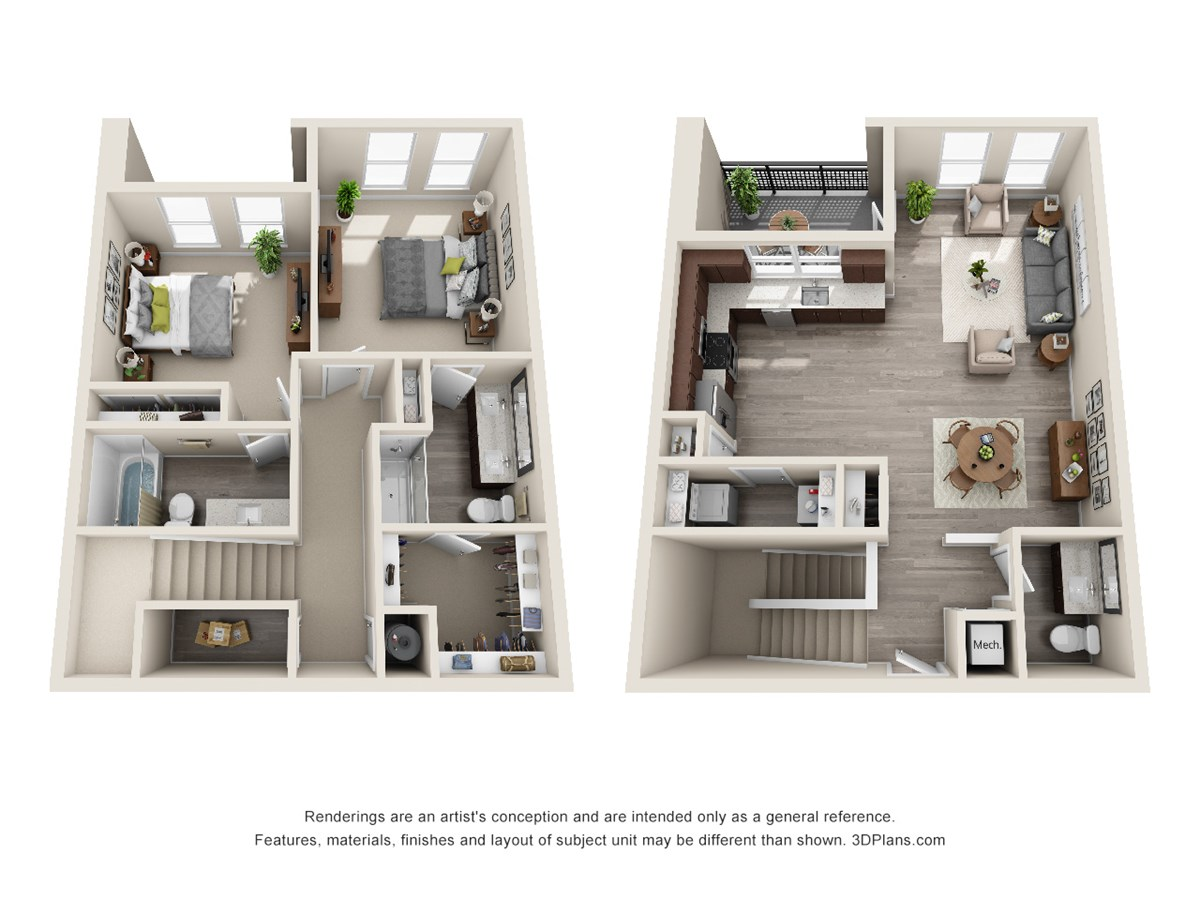 1,425 sq. ft. TH floor plan