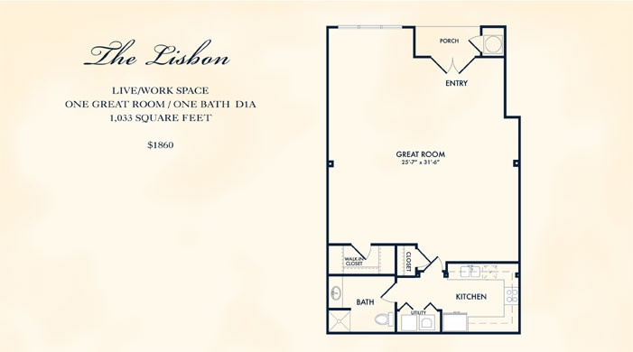 1,033 sq. ft. Lisbon floor plan