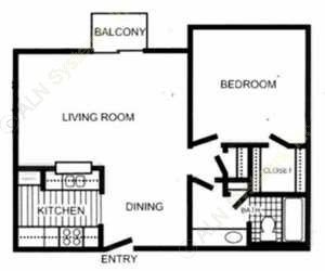 704 sq. ft. Burberry floor plan