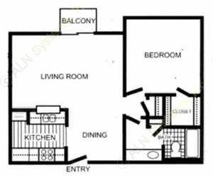704 sq. ft. Burberry floor plan