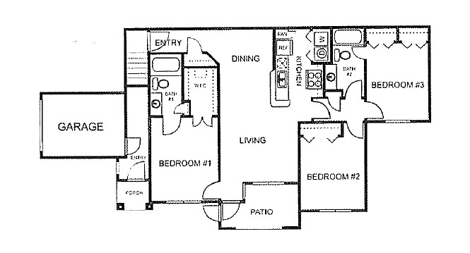 1,140 sq. ft. to 1,236 sq. ft. D/60% floor plan