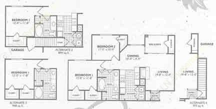 894 sq. ft. to 948 sq. ft. B2 floor plan