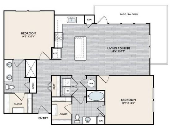 1,288 sq. ft. B4 floor plan