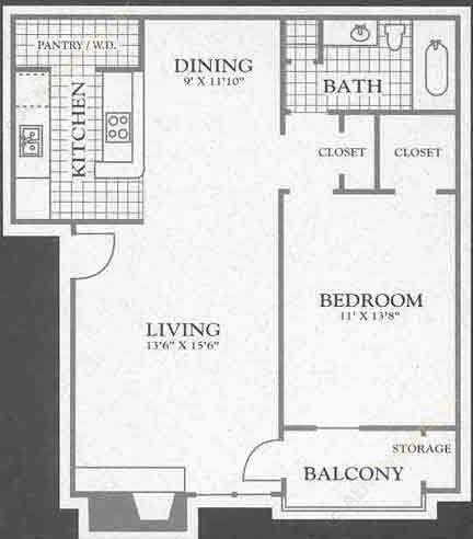 731 sq. ft. Valley Ridge floor plan
