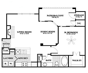 793 sq. ft. A3 floor plan