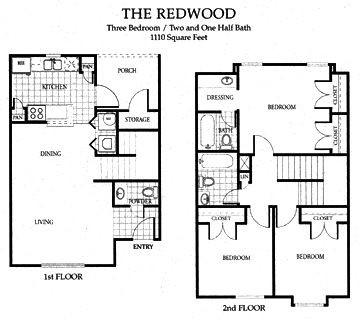 1,110 sq. ft. 60% floor plan