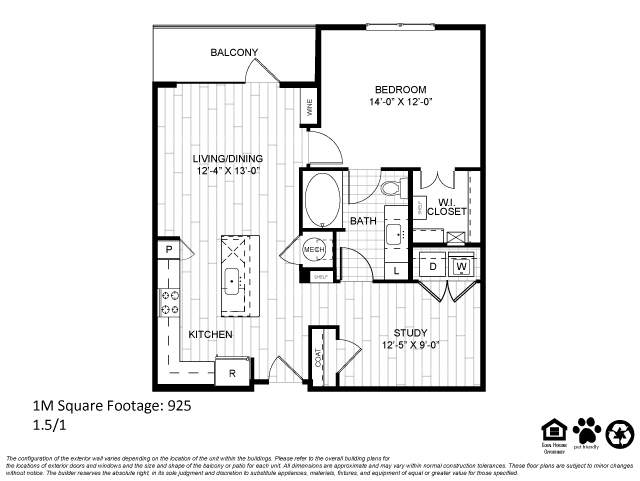796 sq. ft. 1D floor plan