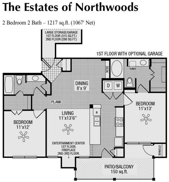 1,067 sq. ft. to 1,217 sq. ft. G/H/I floor plan