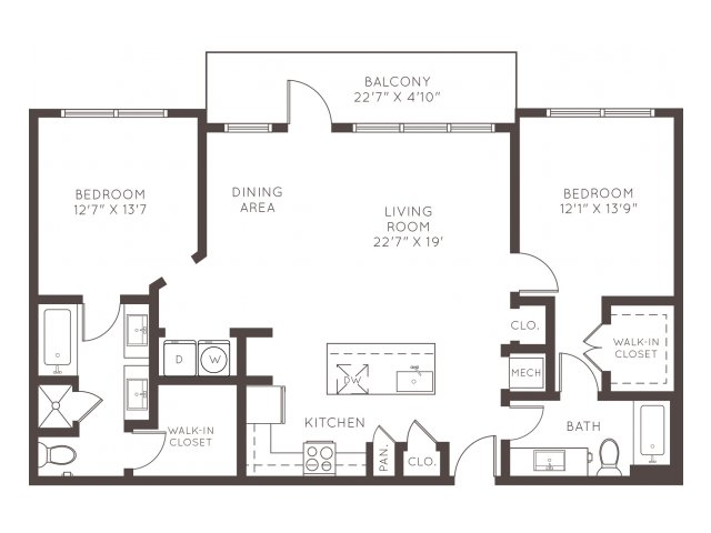 1,255 sq. ft. B2E floor plan