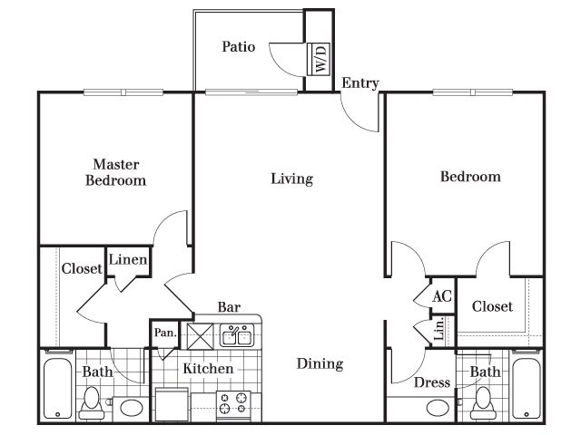 1,040 sq. ft. B5 floor plan