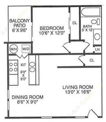 715 sq. ft. A22 floor plan