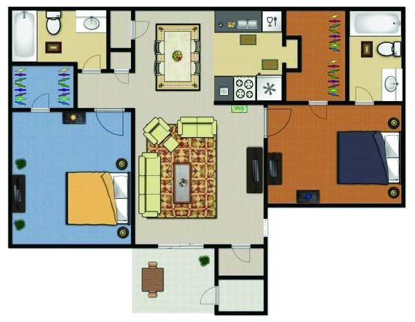 803 sq. ft. B1 floor plan