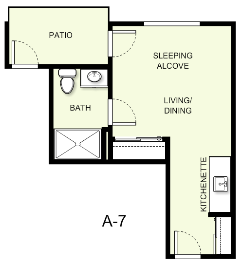 350 sq. ft. A7 floor plan