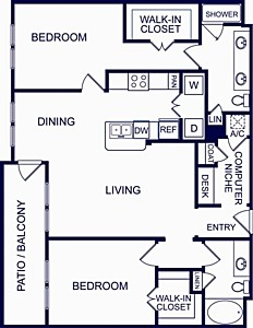 1,211 sq. ft. SEVILLE TWO floor plan