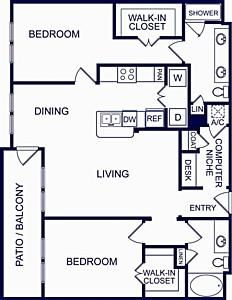 1,211 sq. ft. Seville Two floor plan