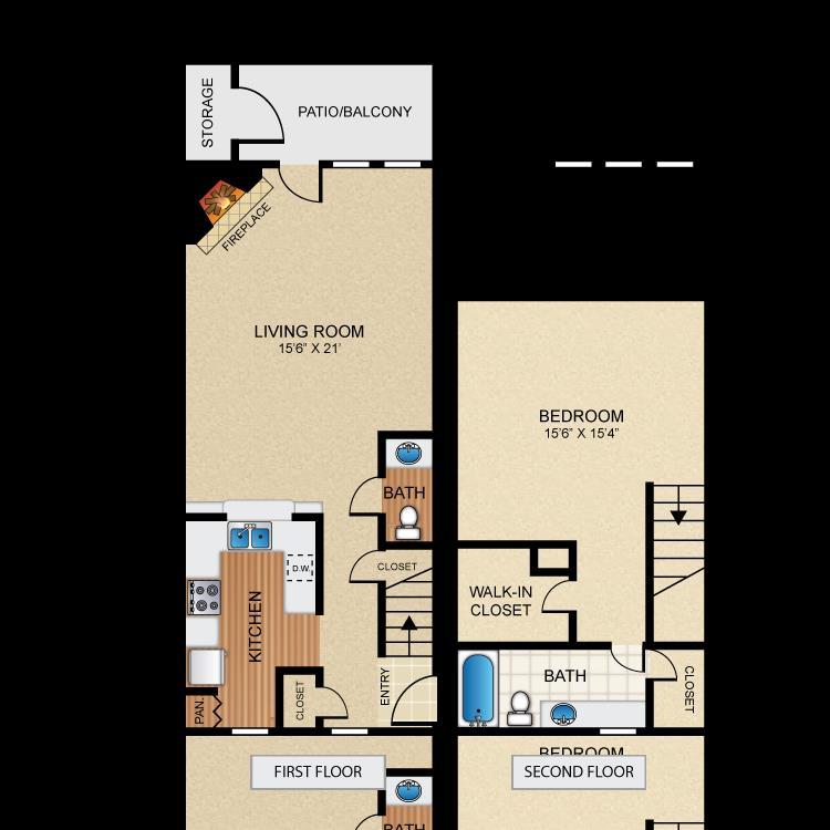 1,036 sq. ft. A3 floor plan