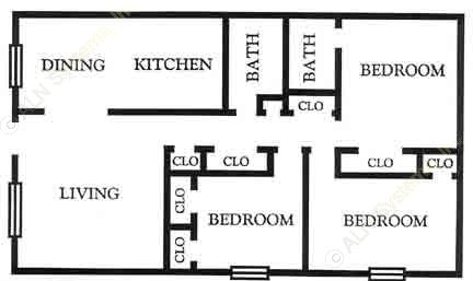 1,118 sq. ft. C1 floor plan