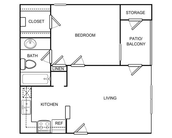 543 sq. ft. A1A floor plan