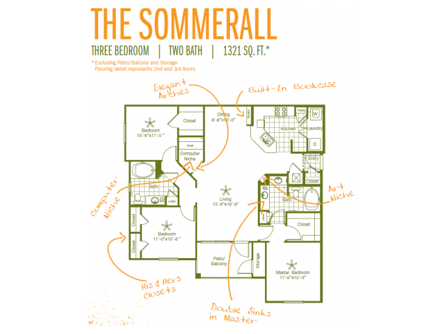 1,321 sq. ft. Sommerall floor plan