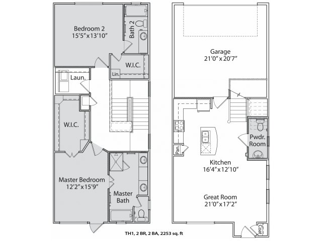 1,556 sq. ft. Th1 floor plan