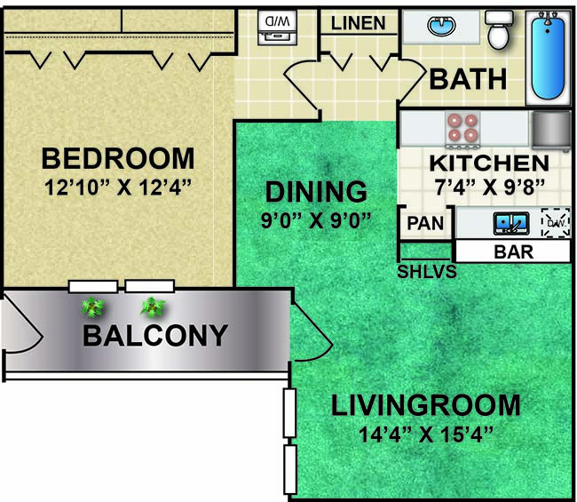699 sq. ft. R1 floor plan