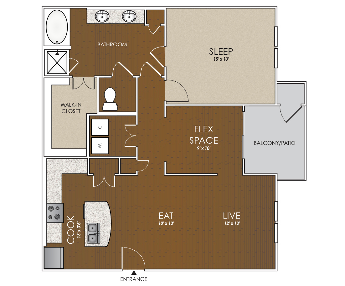 1,125 sq. ft. Monarch floor plan