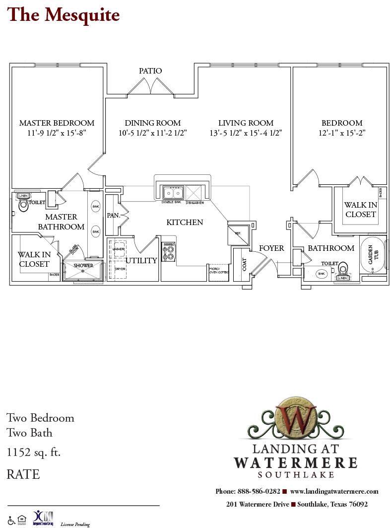 1,152 sq. ft. Mesquite floor plan