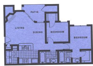 877 sq. ft. B1 floor plan