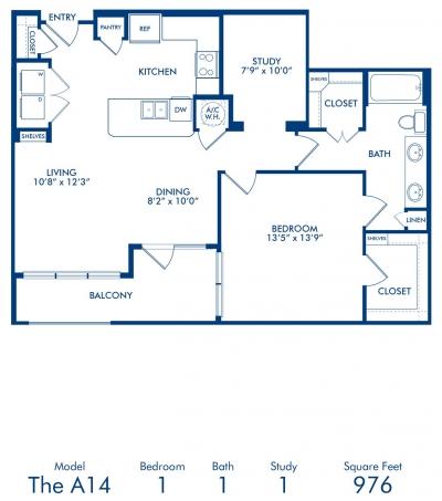 976 sq. ft. A14 floor plan