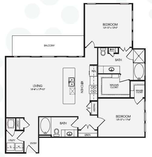 1,329 sq. ft. Sloane/B6 floor plan