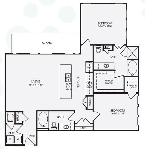 1,329 sq. ft. Sloane/B6 floor plan