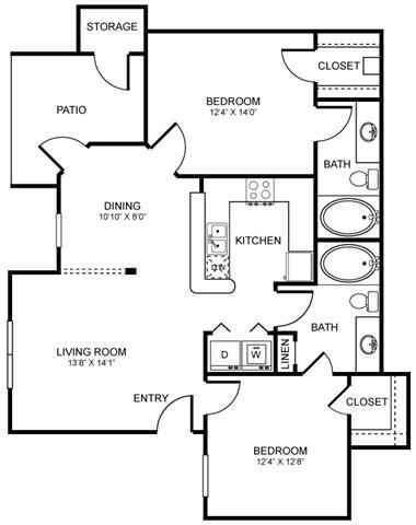 1,034 sq. ft. D1 floor plan