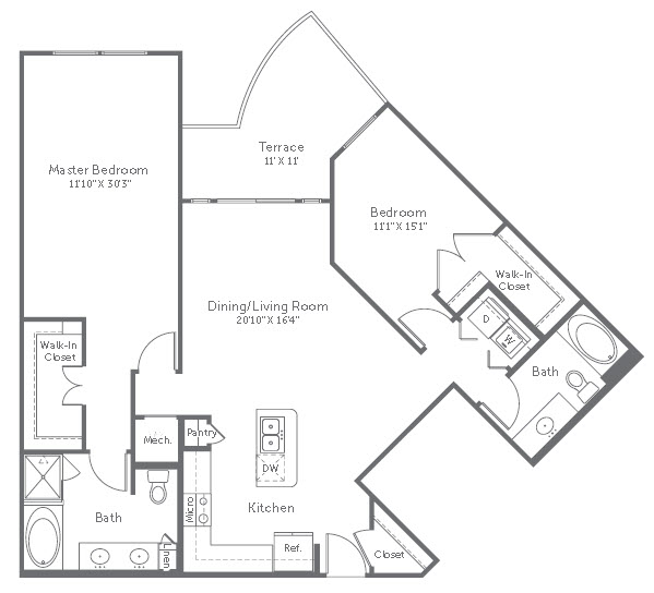 1,278 sq. ft. B3 floor plan