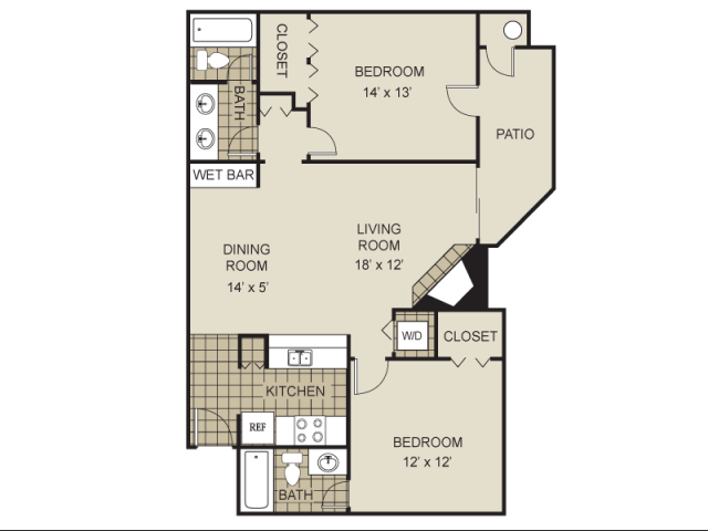 983 sq. ft. B1-A floor plan