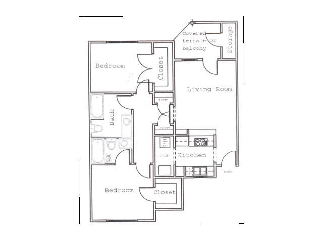 887 sq. ft. B1 floor plan