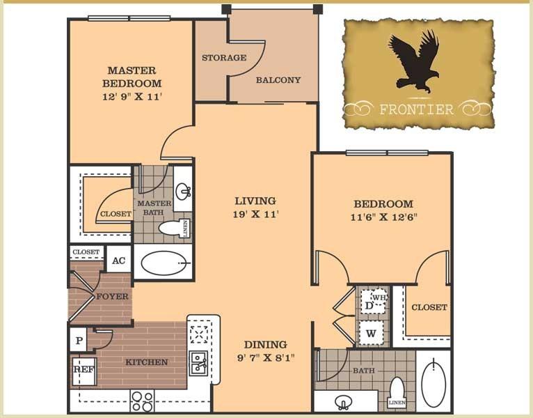 1,050 sq. ft. Frontier floor plan