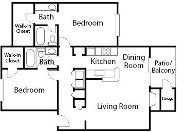 1,039 sq. ft. Pine floor plan