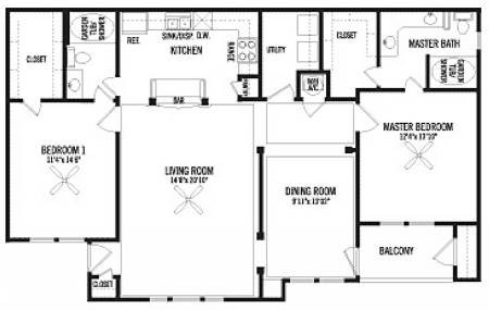 1,386 sq. ft. B3 floor plan