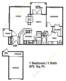 870 sq. ft. A6 floor plan