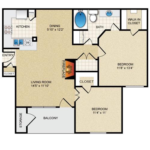 905 sq. ft. Rosemont floor plan