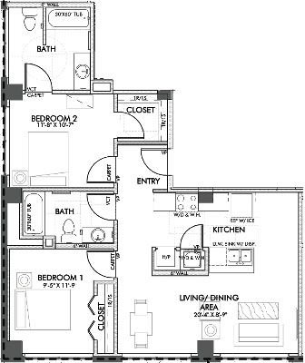 921 sq. ft. Monroe.2 60% floor plan