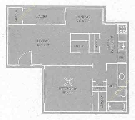 566 sq. ft. Charlotte floor plan