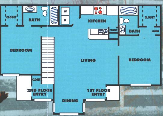 968 sq. ft. 2B floor plan