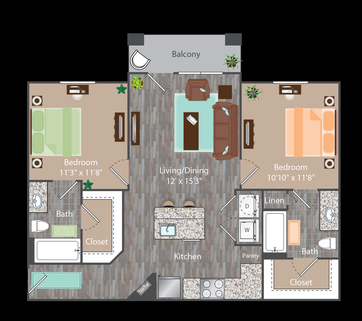882 sq. ft. Broadway floor plan