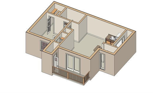 599 sq. ft. A-2 floor plan