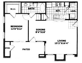 783 sq. ft. 60% floor plan
