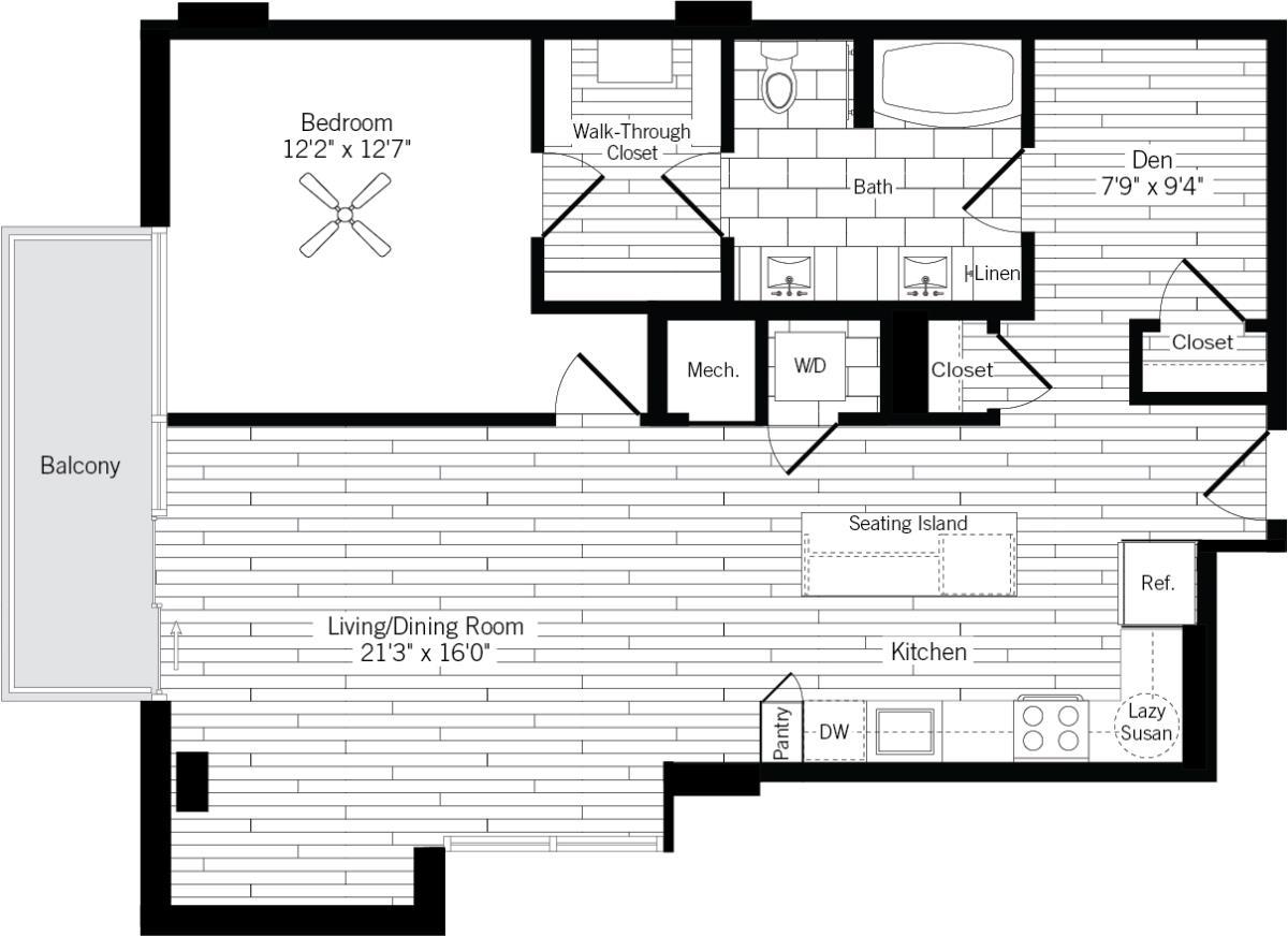 1,012 sq. ft. 1M floor plan