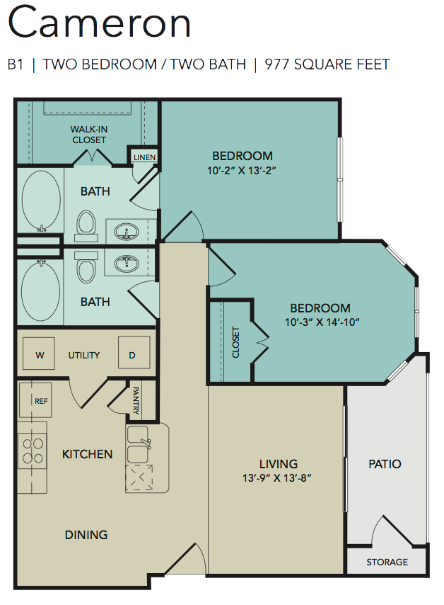 977 sq. ft. Cameron floor plan