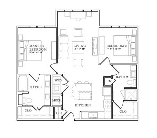 1,066 sq. ft. floor plan